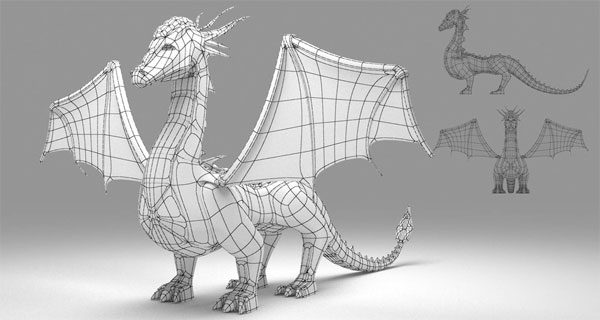 How to create the model of a dragon with 3ds max v ray for 3ds max face modeling