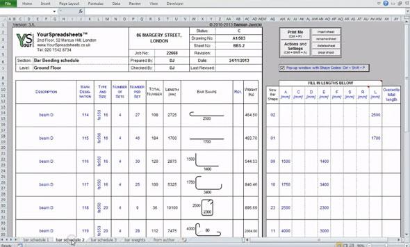 Bar Bending Schedule Spreadsheet How To Calculate