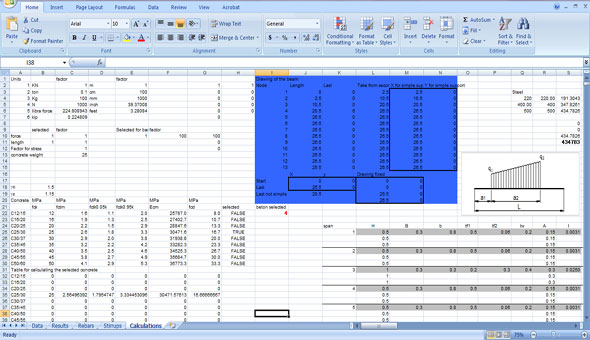 Concrete Beam Analysis Construction Estimating Spreadsheet