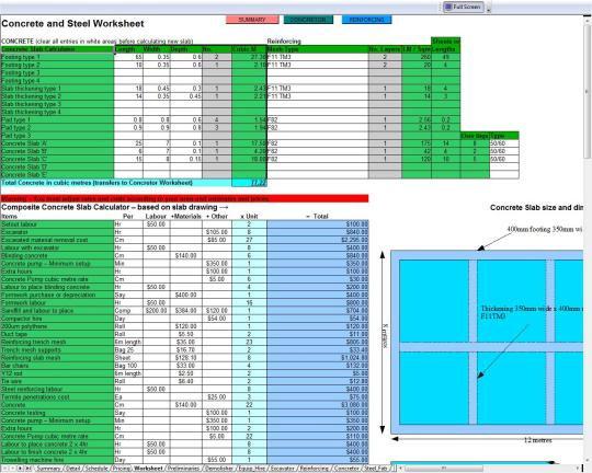Concrete And Steel Estimation Worksheets Steel