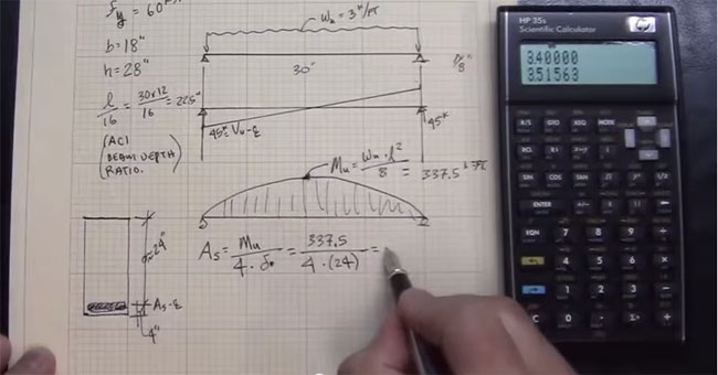 concrete beam design hand calculation