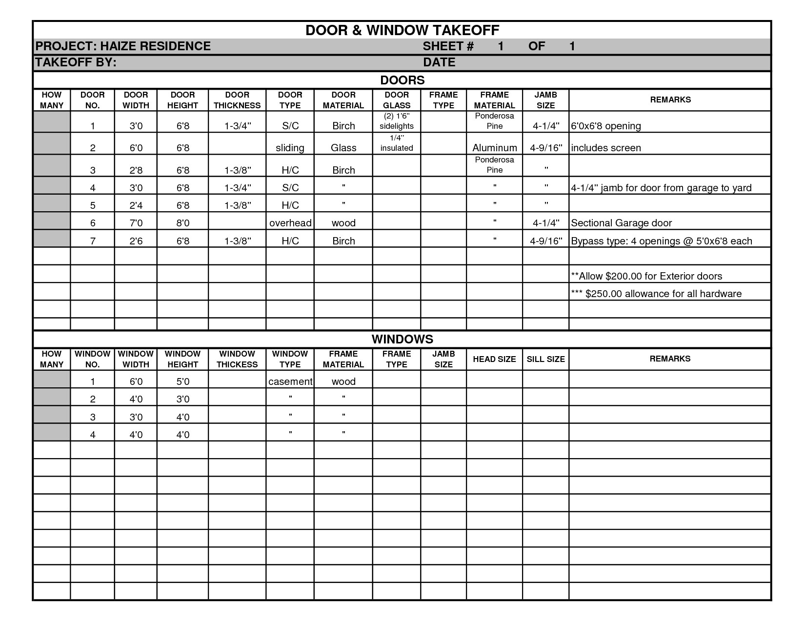 bid tracking spreadsheet