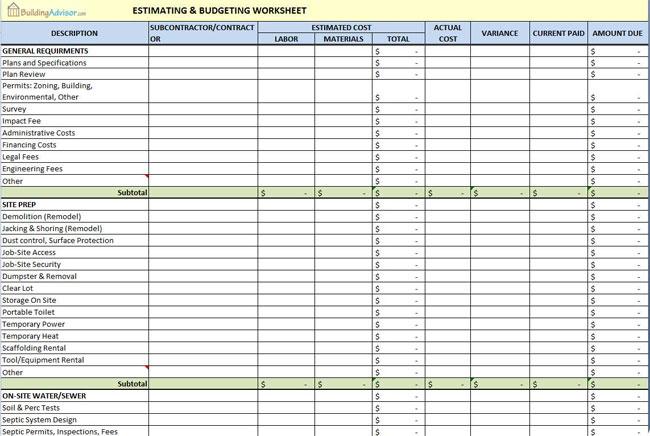 The Building Advisor Estimating And Budgeting Worksheet