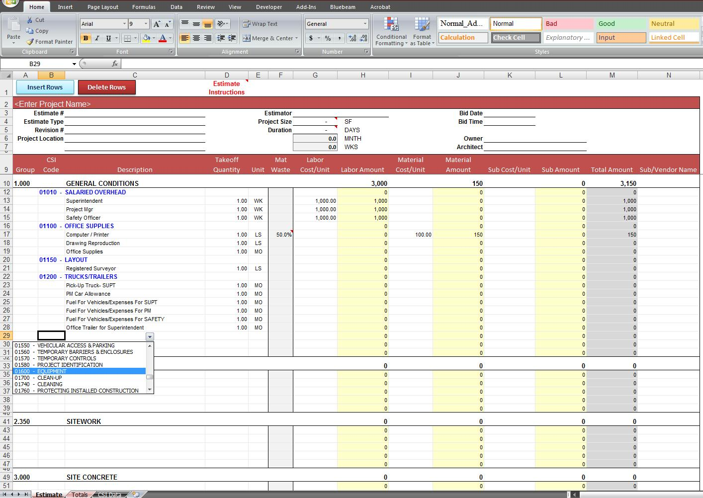 General Construction Estimate Template Cost Construction Sheet