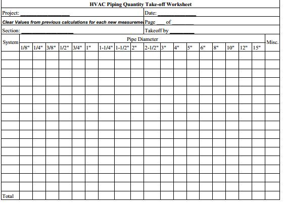 Hvac piping quantity takeoff worksheet design