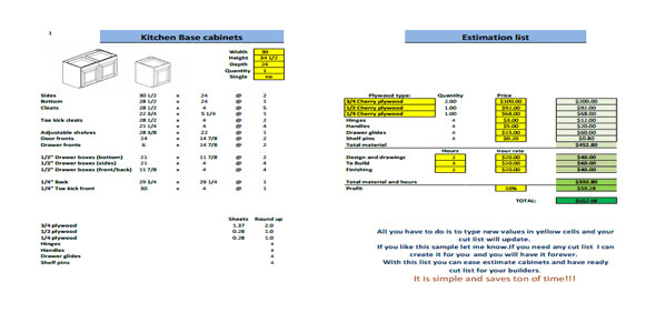 cutting list excel template kitchen cabinets cut list and estimate sheet 146