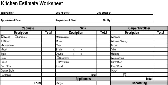 Kitchen Cost Estimate Sheet