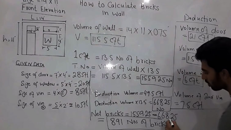 How To Calculate Number Of Bricks In A Wall Brick