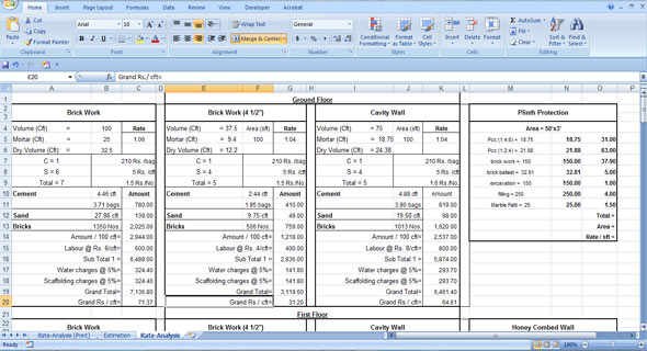 Building Cost Estimating | Civil Rate Analysis Excel Sheet